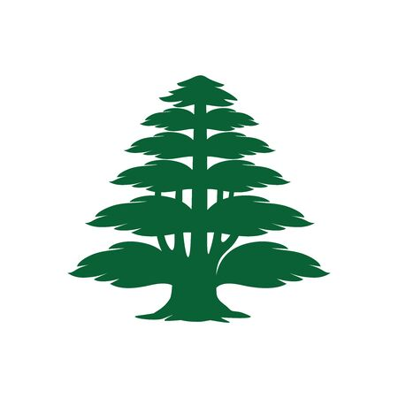 Vector silhouette of the cedrus libani isolated on white background. Can be used as   symbol, or icon in design, illustration, poster, banner, etc. Vector illustration.