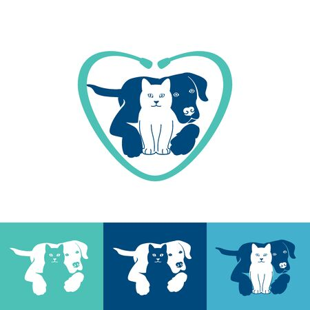 Pet care   design with dog and cat for your pet shop, pet care, veterinary clinic, etc. Vector illustration.
