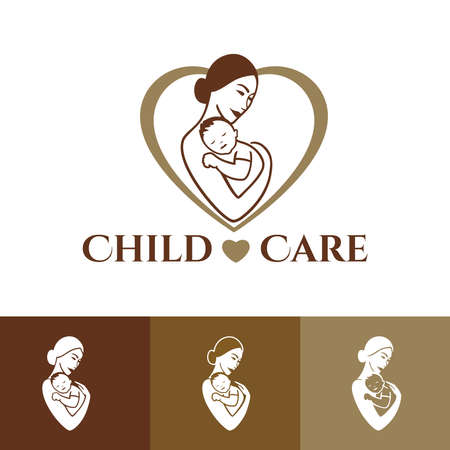 Family Care   design. Child Care and Medical Services. Child adoption. Child freedom and active lifestyle. Mom and baby lifestyle. Mother and child linear icon. Vector illustration. Иллюстрация