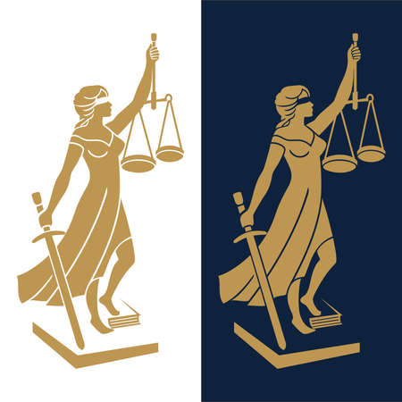 Justice Goddess Themis, lady justice Femida. Statue of Femida on white background for law firm, lawyers, rights attorneys, business law firm. Blindfold woman holding scales and sword. Иллюстрация