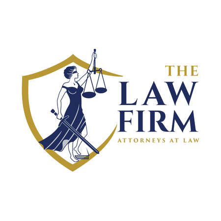 Justice Goddess Themis, lady justice. Logo design with the Statue of Femida for law firm, lawyers, rights attorneys, business law firm. Blindfold woman holding scales and sword. Vector illustration.