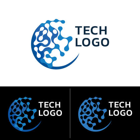 Healthcare Tech Logo. Emblem that elicits an expression of optimizing health, integrative wellness technologies, biotechnology. Graphic geometric tech symbol. Vector illustration.