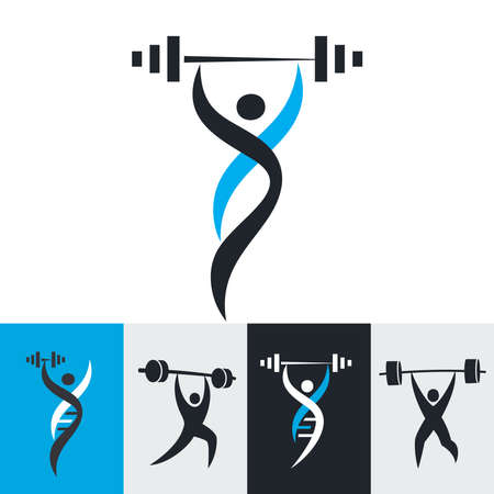Logos design, icons, signs for healthy life, fitness and holistic health, optimizing health. Vector illustration.