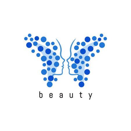 A woman's face in the form of butterfly wings. Abstract logo design for beauty salon, spa and aesthetics, wellness and therapy massages, cosmetics, yoga studio, plastic surgery. Vector illustration.