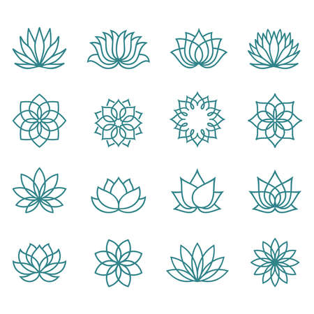 Lotus line icon set on a white background. Abstract lotus flower in trendy flat style. Collection  icons, symbols for your health, wellness business. Spa sign. Yoga design. Vector illustration. 向量圖像