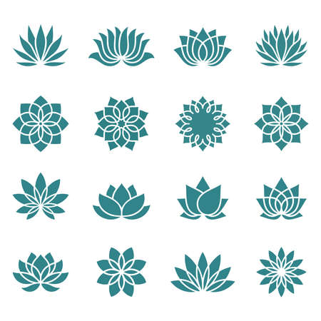 Lotus icons set on a white background. Abstract lotus flower in trendy flat style. Collection icons, symbols for your health and wellness business. Spa sign. Yoga design. Vector illustration. Banco de Imagens - 153589555