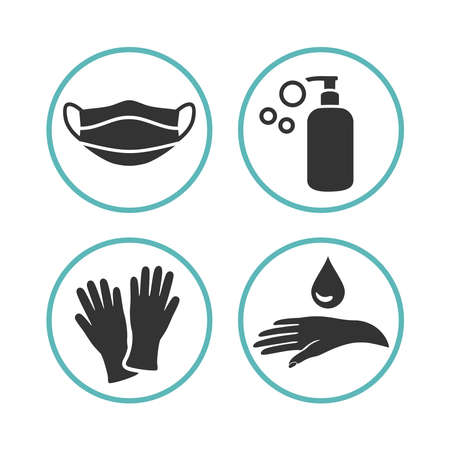 Set of flat medical icons for personal care. Medical mask, soap gel bottle sanitizer, rubber gloves and disinfection hands. Design emblems in simple, clean style. Vector illustration. Banco de Imagens - 153768749