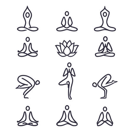 Yoga icons  set - graphic design elements in outline style for spa center, fitness or yoga studio Yoga. Set of line icons and symbols. Vector illustration.