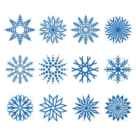 Snowflake icon set isolated on white Banco de Imagens - 158803631