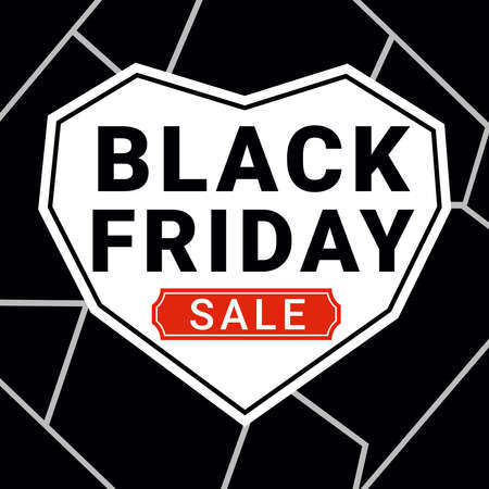 Black Friday sale banner in form of stylized heart.  Vector illustration. Banco de Imagens - 158390922