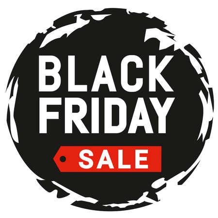 Black Friday sale round design. For emblem, label, banner, logo, sticker, symbol, sign, mock-up brochure style, booklet, print, flyer, book, card, ads and deals, poster, badge. Vector illustration. Vettoriali
