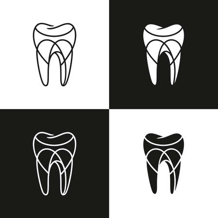 Dental care  icon. Abstract stylized tooth, modern logotype for dentistry, dentist, dental clinic, health care concept. Simple tooth symbol in linear drawing. Vector illustration.