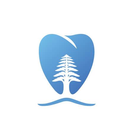 Dental care logo with cedar tree on white