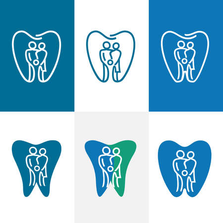Abstract family dental care icon set. Sophisticated dental practice. Simple tooth symbol in linear drawing. Health care concept. Vector illustration.