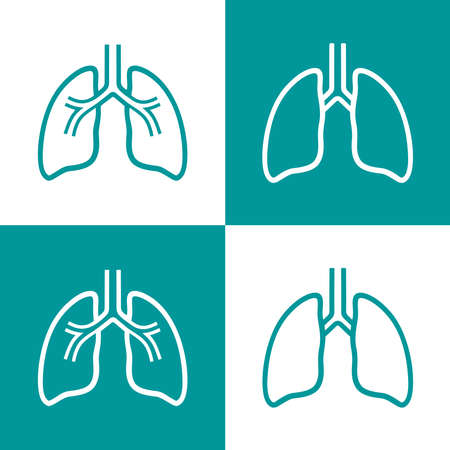 Human lungs flat line icon set. Pictogram, design of human internal organ for pulmonary clinic and health care concept. Vector illustration. Иллюстрация