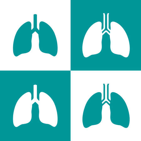 Human lungs icon set in flat and minimalist style. Lungs silhouette symbol design. Pictogram of human internal organ for pulmonary clinic and health care concept. Vector illustration.