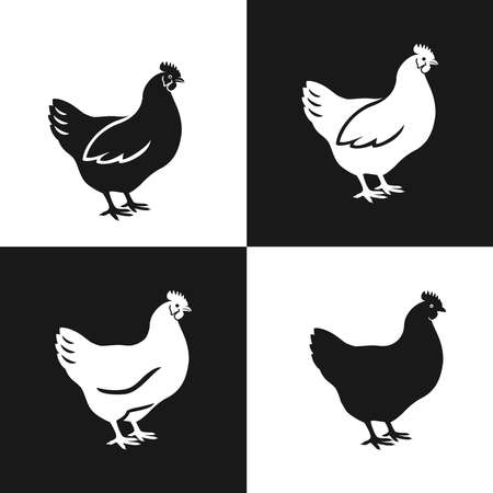 Hen icon set. Silhouettes of hen chicken in simple flat style. Vector Illustration.