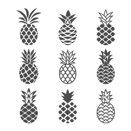 Abstract pineapple icons set in white and black color. Creative pineapples in a modern, simple style.