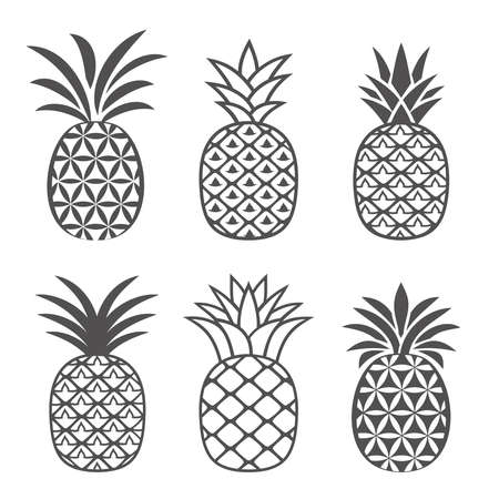 Abstract pineapple icons set in outline style. Creative, flat logo design, symbol, emblem or icon of tropical fruit in a modern abstract style. Vector illustration.