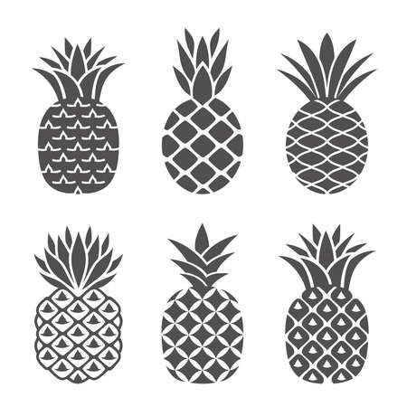 Abstract pineapple icons set in white and black color. Creative, flat pineapples in a modern, simple style. Logo, symbol, emblem or icon of tropical fruit. Vector illustration.