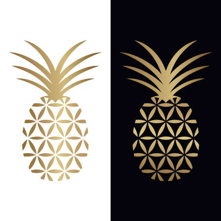 Golden geometric pineapple logo design to incorporate flower of life and pineapple incorporated in one. Abstract logo, symbol, emblem or icon of tropical fruit in golden color. Vector illustration.