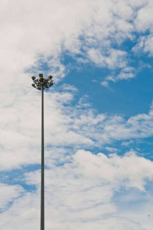 Light poles and colorful sky photo