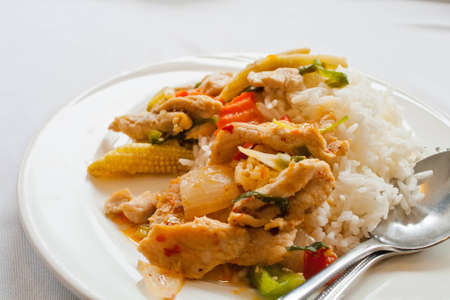 Thai food in a white dish Stock Photo