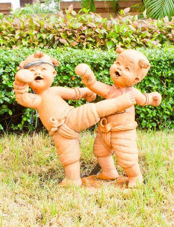 Thailand boxing boy statue photo