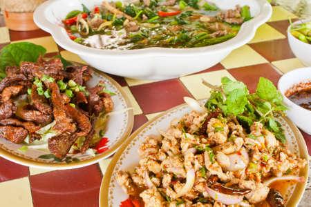 Northeastern Thai food Lab Pork and fried pork photo