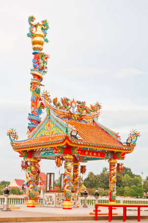 Chinese style pavilion dragon statue photo