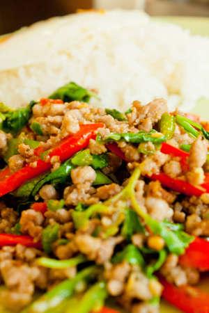 Minced pork fried rice with basil photo