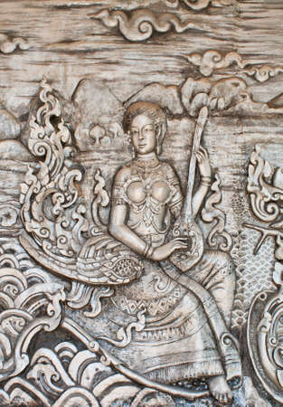 Thai art of carving wood wall