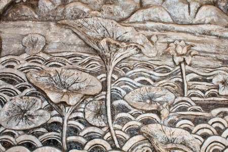 Thai art of carving wood wall photo