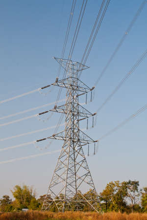 High voltage power pole and the blue sky Stock Photo