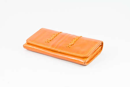 Wallet orange on a white background photo