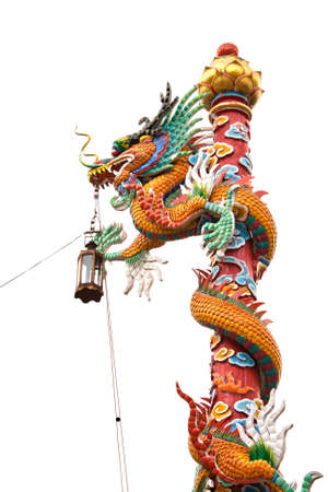 Chinese style dragon statue on a white background photo