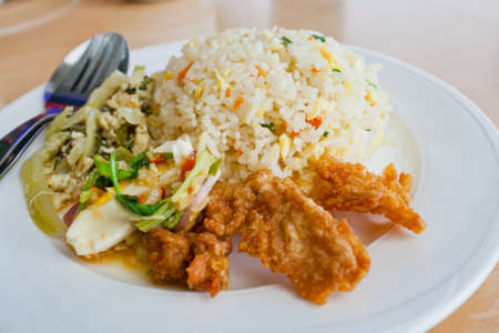 Thai food fried rice and chicken fried photo