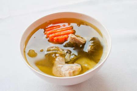 Thai food soup pork and vegetables photo