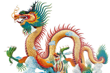 Chinese style dragon statue on a white background