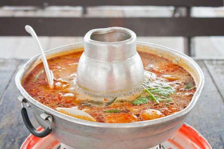 soup pot: Hot and sour soup pot Stock Photo