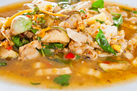 Thai food spicy fried clams Stock Photo