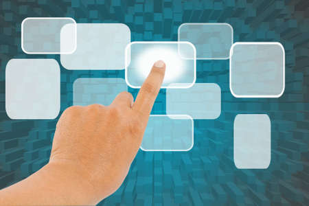 Hand pushing background  on a white board Stock Photo - 13721827