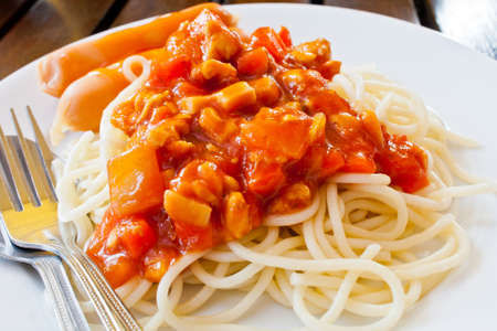 Spaghetti sauce and sausage Stock Photo - 14019390