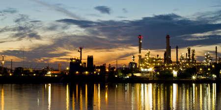 Bangjak oil refinery at twilight Bangkok Thailand photo