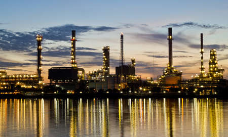 Bangjak oil refinery at twilight Bangkok Thailand