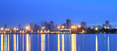 Panorama city view at twilight Bangkok Thailand photo