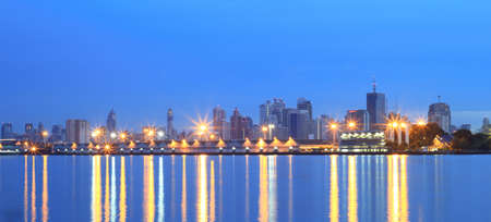 technoligy: Panorama city view at twilight Bangkok Thailand