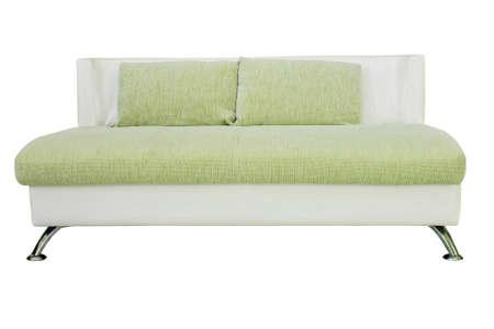 Green sofa isolate on white background photo