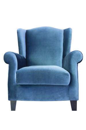 blue leather sofa: Divano blu isolato su sfondo bianco