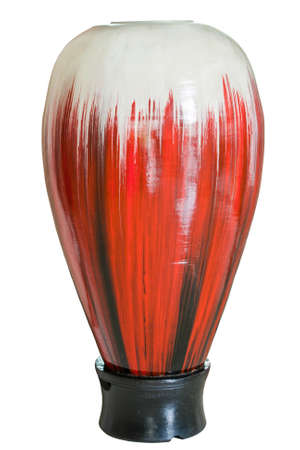 Red and white vase isolate on white background photo